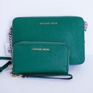 Michael Kors Jet Set Xbody Bag & Wallet Green